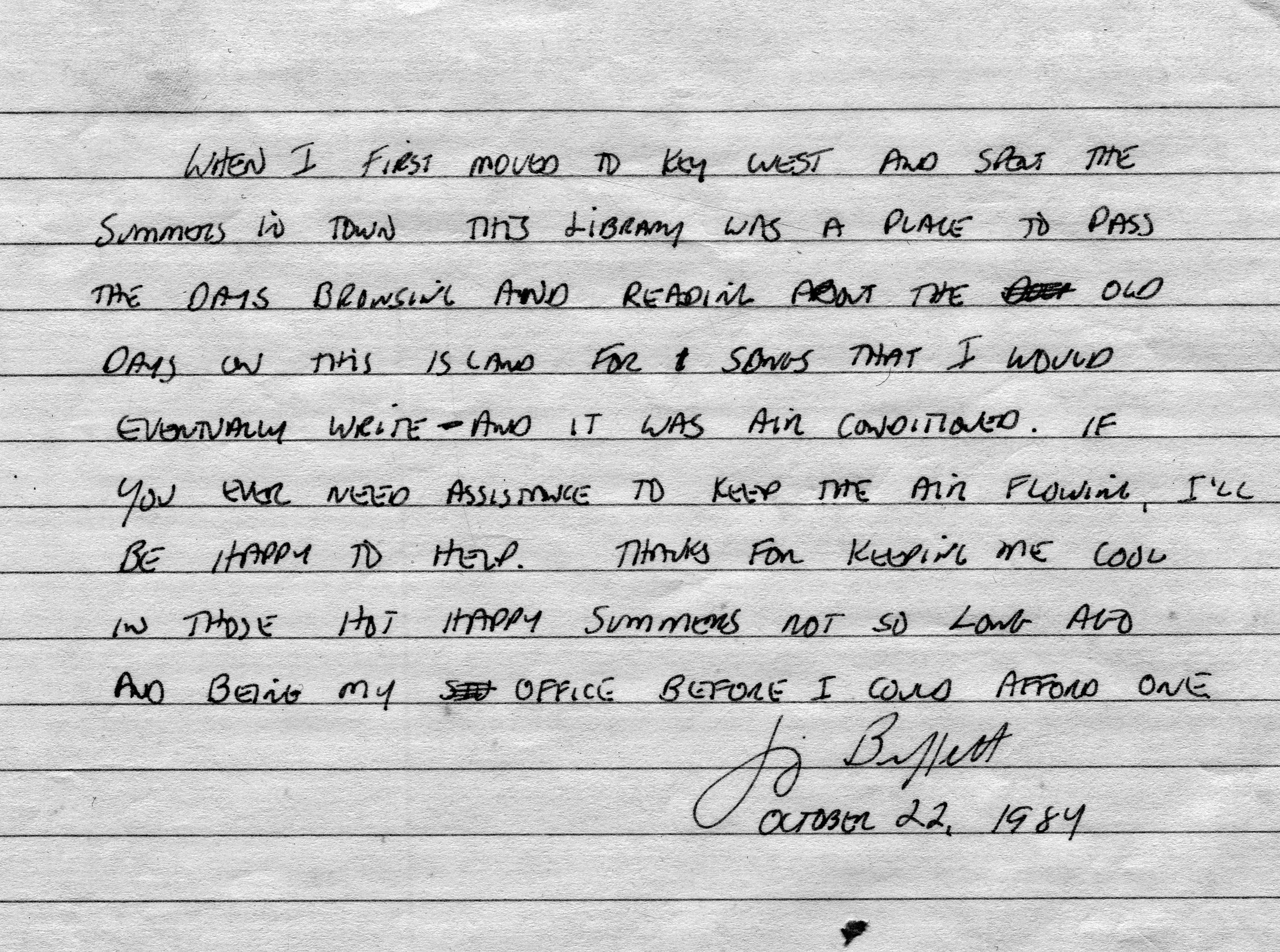 Jimmy Buffett&#39s handwritten note to Key West library (1989)